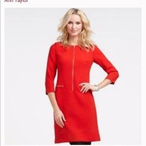 Ann Taylor Zip Up Sheath in Red